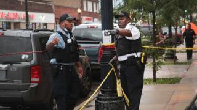 Police marking off crime scene area in Chicago