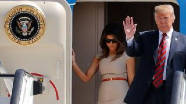 Donald Trump and Melania Trump leave Air Force One