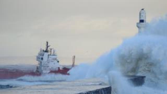 Ship in storm near Aberdeen