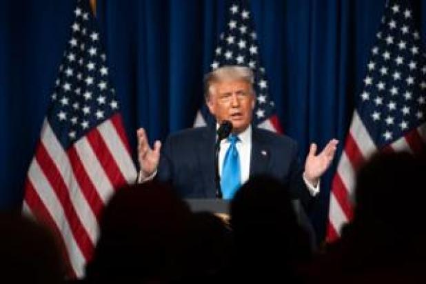 الرئيس الأمريكي دونالد ترامب متحدثا في المؤتمر الوطني للحزب الجمهوري، 24 أغسطس/آب 2020