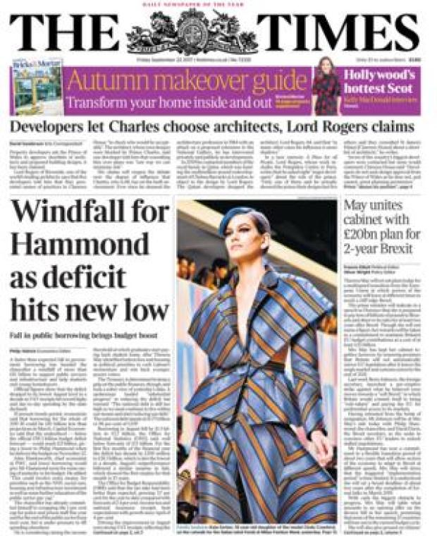 The Times front page 22/09/2017