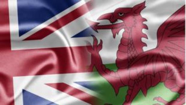 Union flag merged into Welsh dragon flag