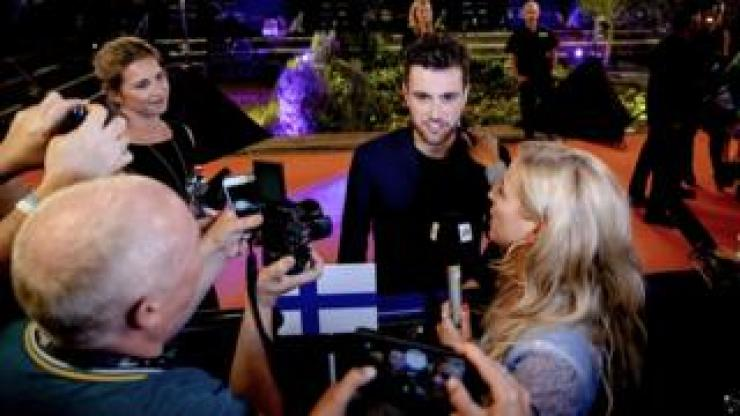 Duncan Laurence from the Netherlands talks to reporters