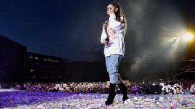 Ariana performing at the One Love Manchester concert in 2017.