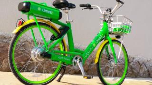 A Lime, electric bicycle.