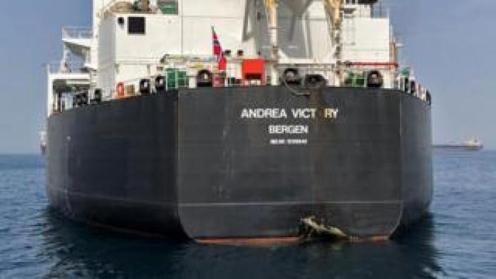 Handout photo showing damage to hull of Norwegian oil tanker Andrea Victory off coast of the UAE (13 May 2019)