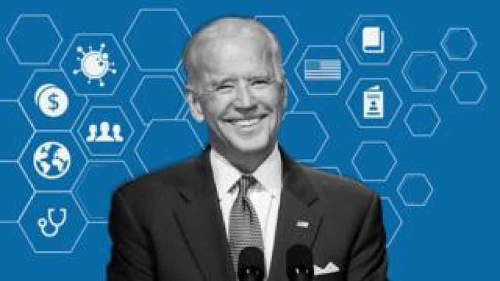 trump Joe Biden and icons for some of his policy areas, including coronavirus, the economy and foreign affairs