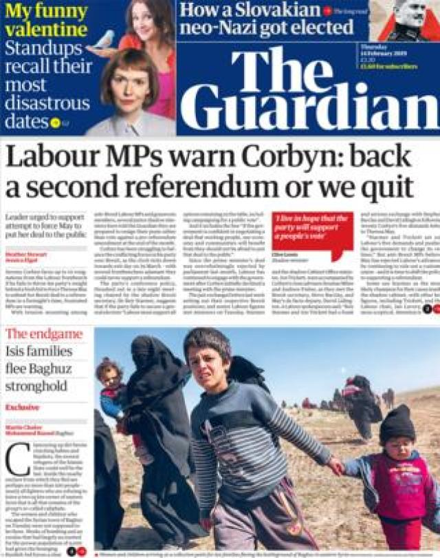 Guardian front page 14/02/19