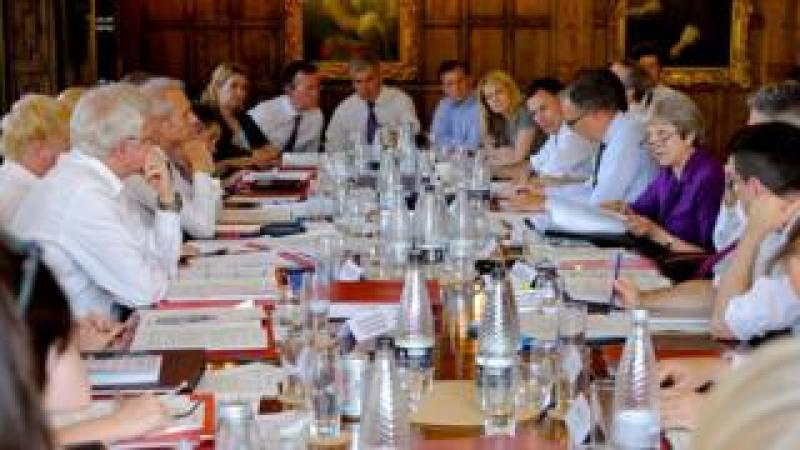 Theresa May presenting her plans to cabinet ministers at Chequers