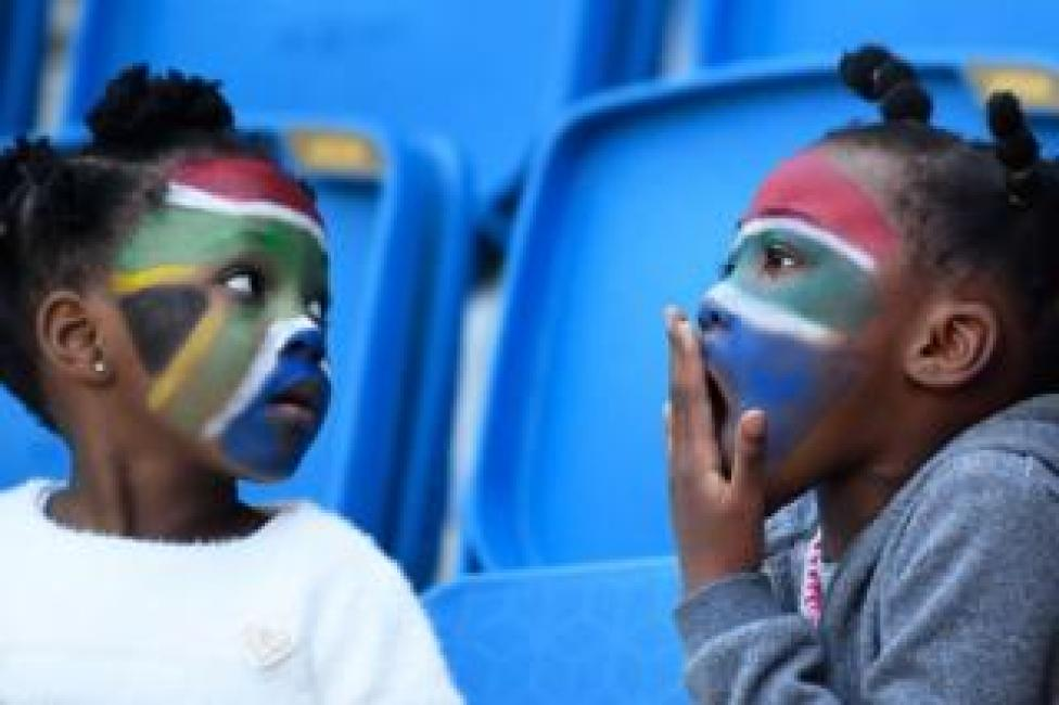 South Africa supporters react prior the France 2019 Women's World Cup Group B football match between Spain and South Africa, on 8 June 8, 2019, in France.