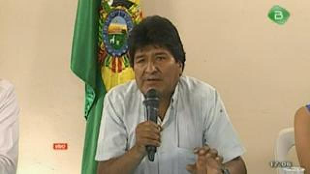 Morales speaking on national TV