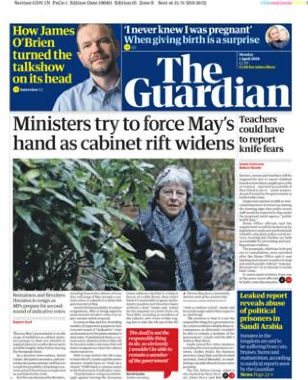 Monday's Guardian front page