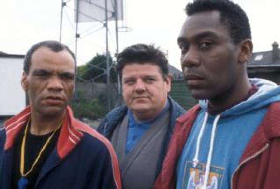 Paul Barber as Earl Preston, Robbie Coltrane as Liam Kane and Lenny Henry as Stevie Smudger Smith in Alive and Kicking