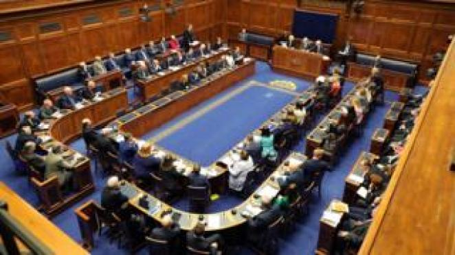 MLAs sitting in Stormont assembly chamber