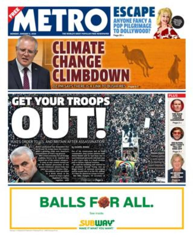 Metro front page 6 January 2020