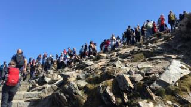 A queue of people on Mount Snowdon