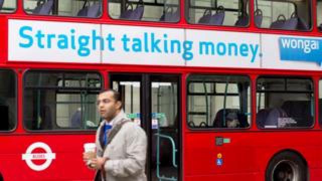 Wonga ad on side of bus