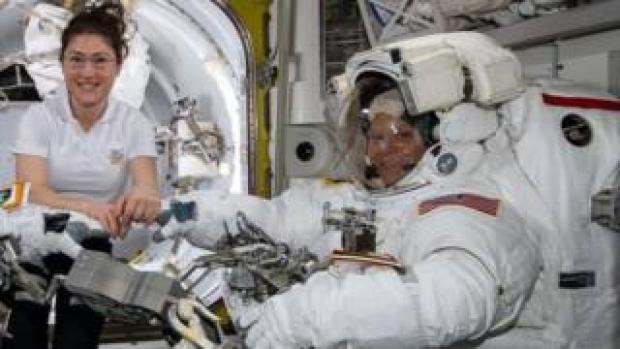 Nasa astronauts Christina Koch (left) and Anne McClain at the International Space Station. Photo: 22 March 2019