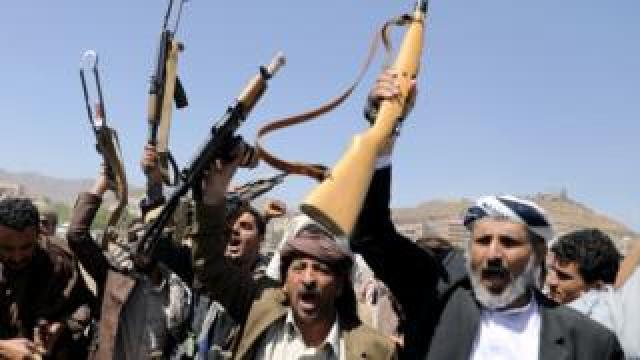 Houthi rebels in Sanaa, Yemen in September 2019