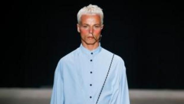 Tales Soares photographed moments before he collapsed on the catwalk. He died later at hospital
