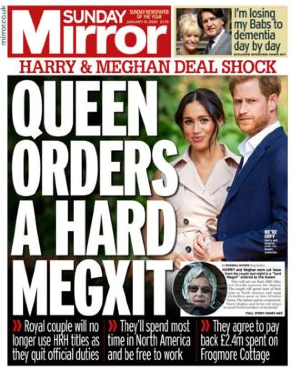 Sunday Mirror front page 19/01/20