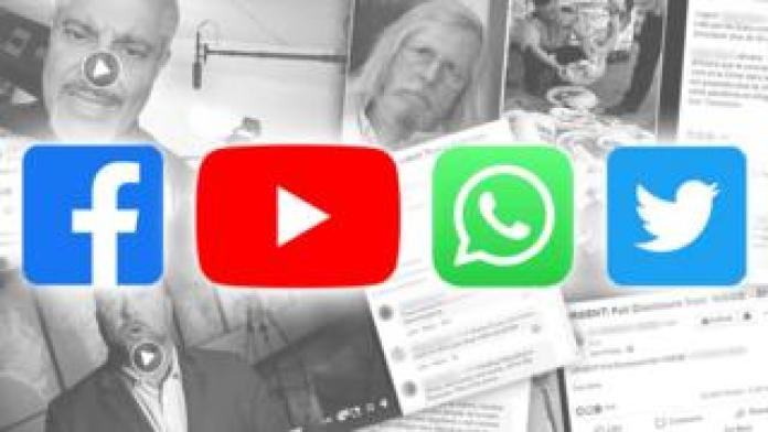 Stacks of screenshots with social media logos layered on top