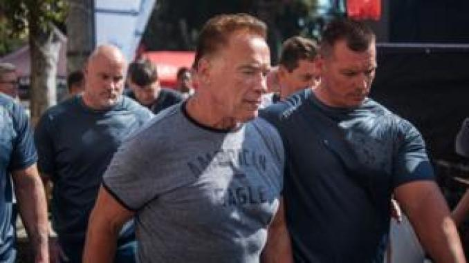 US actor and former California Governor Arnold Schwarzenegger (C) is seen at the Arnold Classic Africa event