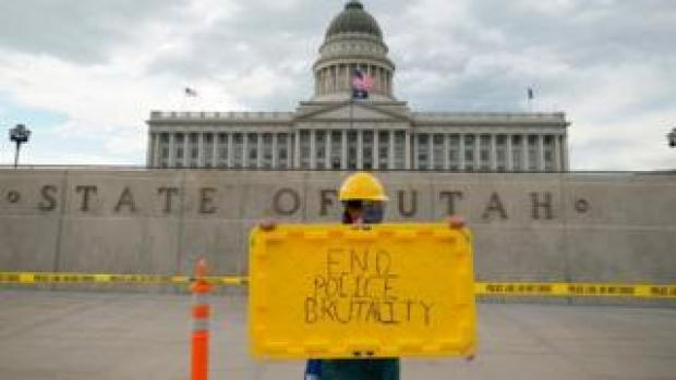 File photo of a protest against police brutality outside the Utah state capitol in June