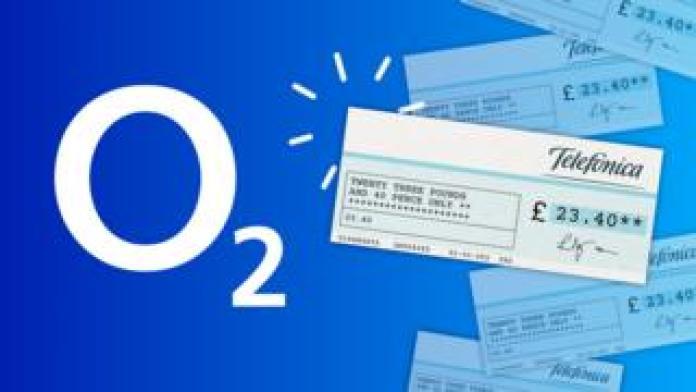 The O2 logo next to a cheque