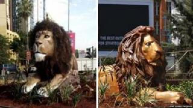 The original lion statue and its replacement