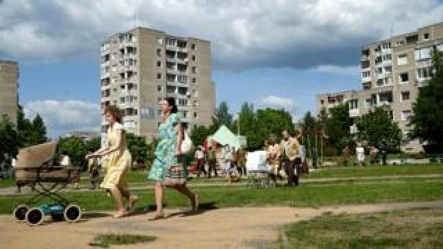 Crowd scene in Chernobyl