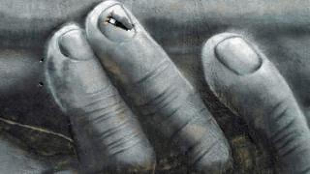 French artist Saype's Beyond Walls artwork of interlocking hands in Ouagadougou, Burkina Faso - Sunday 1 March 2020