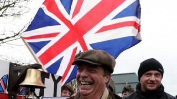 Nigel Farage and other Leave Means Leave supporters in march in Hartlepool