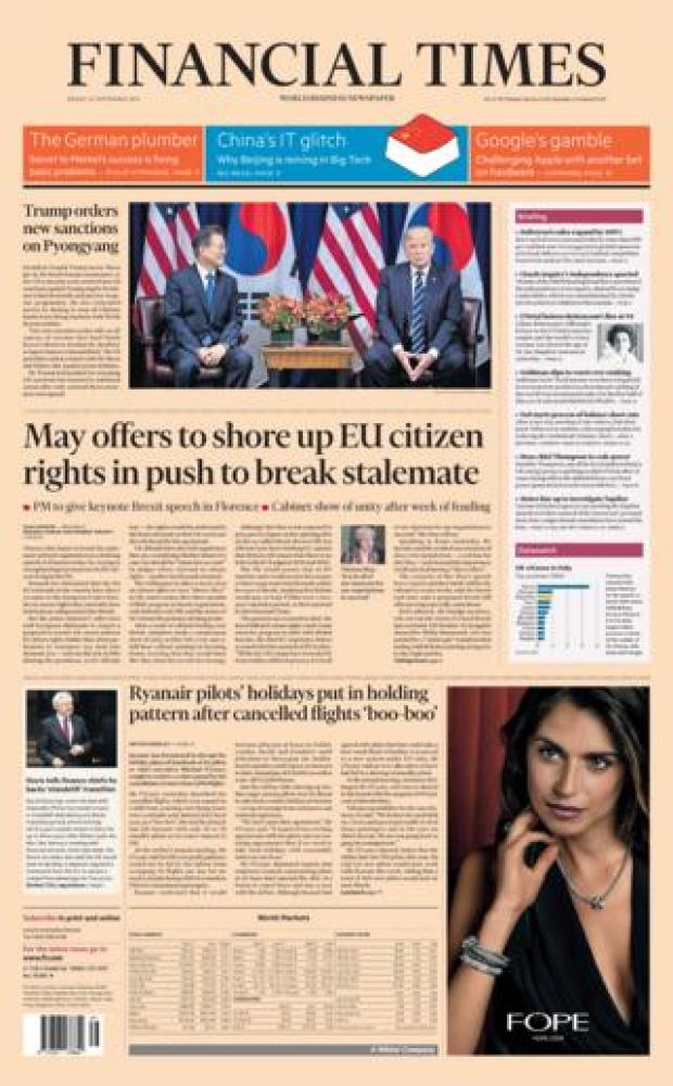 The Financial Times front page 22/09/2017