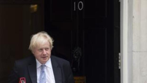 Boris Johnson outside No 10 while Foreign Secretary