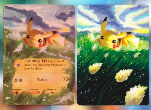 On the left of the picture is a Pikachu card painted roughly. It has basic colours and is clearly very rough and textured. On the right, it has been painted in great detail, with more vibrant colours and appears completely smooth to the touch.