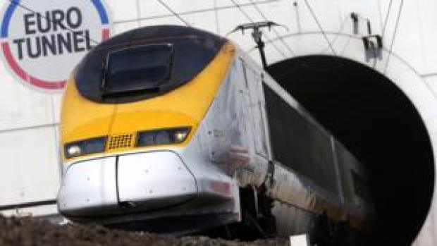 A train exits the Channel Tunnel in near Calais, Frannce, 5 May 2014
