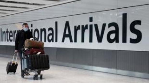 Passenger at Heathrow international arrivals