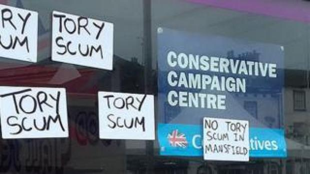 Tory campaign HQ defaced