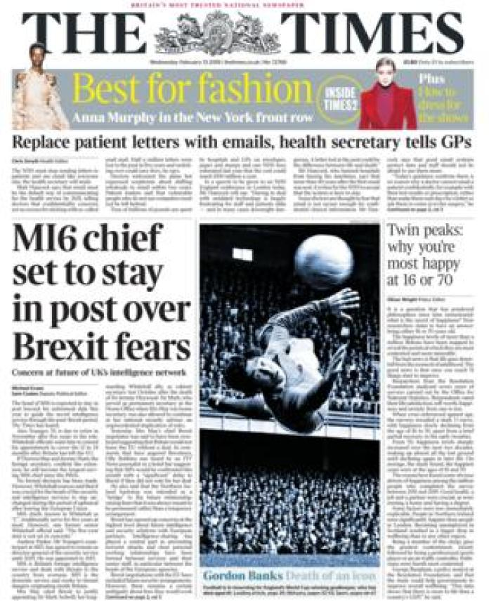 The Times front page 13/02/19