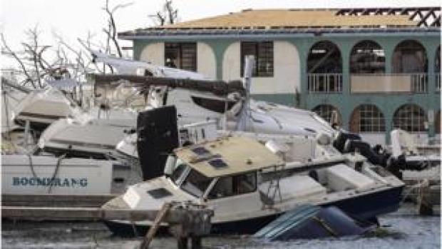 Destruction in British Virgin Islands left by Hurricane Irma on 10 September 2017.
