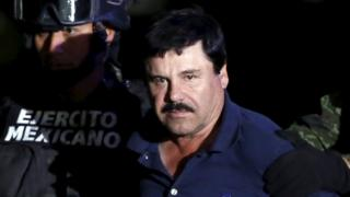 """Joaquin """"El Chapo"""" Guzmán is paraded before the media after his arrest"""