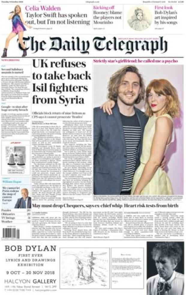 Daily Telegraph front page - 09/10/18