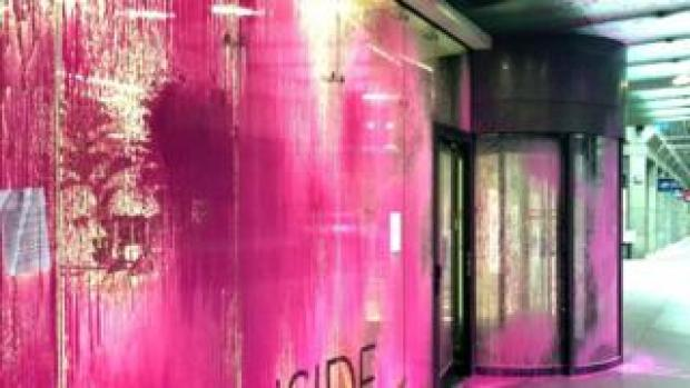 Labour Party HQ daubed in paint
