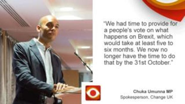 "Chuka Umunna: ""We had time to provide for a people's vote on what happens on Brexit, which would take at least five to six months. We now no longer have the time to do that by 31st October"""