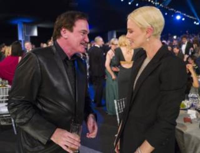 Quentin Tarantino and Charlize Theron