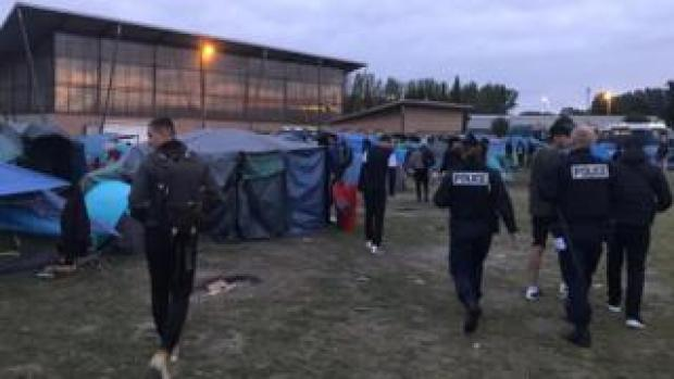 Police moved in shortly after dawn to clear the camp on Tuesday 17 September