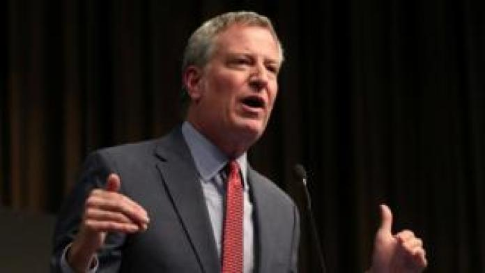 New York's Mayor Bill de Blasio speaking at the 2019 National Action Network National Convention in April 2019