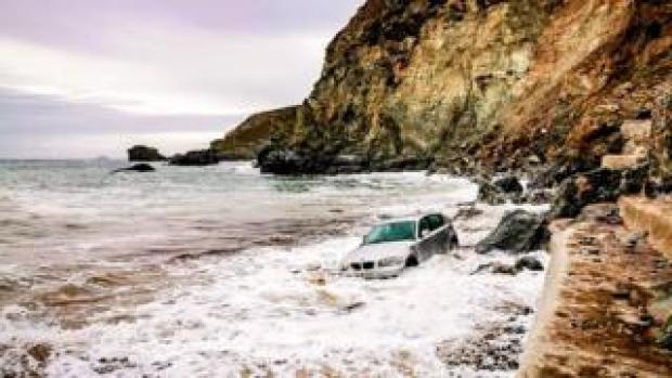 Car in sea
