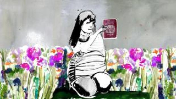 Zara in garden with passport